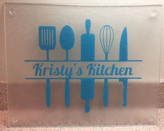 Kitchen Cutting Board, Glass Cutting Board, Housewarming Gift, Kitchen decor, Mother's Day Gift, Gift for her, kitchen images, cutting board