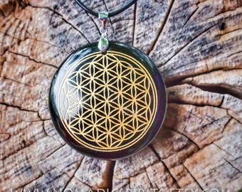 Obsidian Flower of life Pendant with adjustable necklace (comes with necklace) sacred geometry