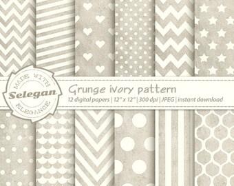 "grunge pattern "" Grunge Ivory Pattern "" scrapbooking paper printable ivory grunge digital seamless patterns chevron polkadot stripes heart"