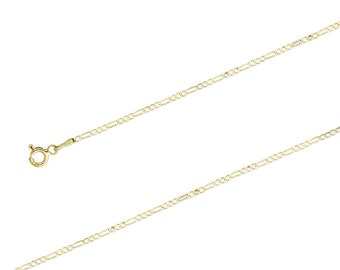 "14K Yellow Gold Figaro Chain Necklace, 1.5mm, 16""-24"", with Spring Clasp"