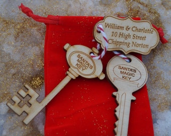 Santa's magic Key with Personalised Tag,  father christmas key, personalised key, childs christmas key, personalised gift,