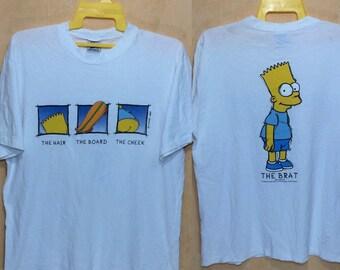 90s Vintage 1997 THE BRATT Bart Simpson Matt Groening Twentieth Century Fox Film Corporation T-shirt Adult Large Size Skates Skateboard
