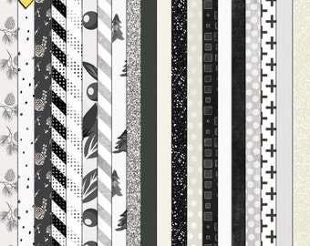 SUMMER SALE - Black And White Christmas - Digital Scrapbooking Paper Pack