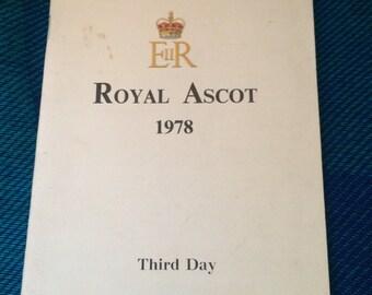 Royal Ascot Programme 1978, Horse Racing, Vintage Sports, Ascot, Horse Charity, Horse Gift, Ascot Races