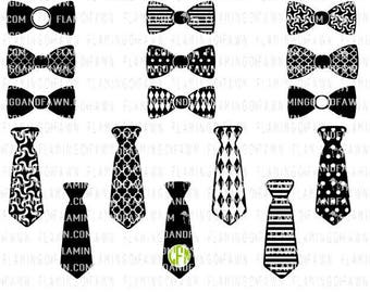 Tie and bow tie double collection, bow tie svg, bundle svg, boys svg files, necktie svg, tie svg files, bowtie svg, tie bundle svg
