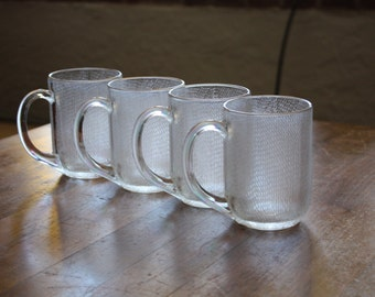 Set of 4 Arcoroc France Clear, Textured Glass Mugs