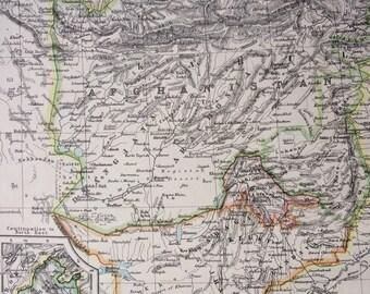 1899 AFGHANISTAN and BALUCHISTAN Original Antique W & A.K Johnston map, Wall Decor - Home Decor - Gift Idea - Pakistan