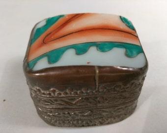 Asian Shard Box, Vintage Trinket Box, Jewelry Box, Ring Box, Green And Orange Box, Metal And Ceramic