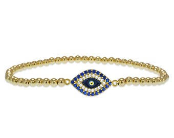 Gold Filled Beaded Evil Eye Bracelet