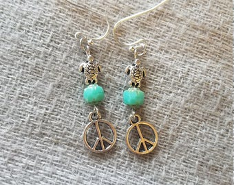 Peace Love and Turtles, Earrings with Turquoise Czech Glass beads