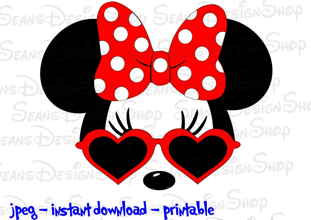 Instant Download Digital File Minnie Mouse with Heart