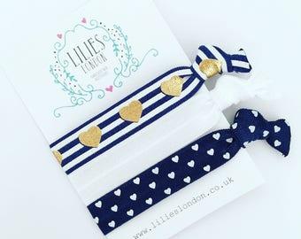 Navy hair ties