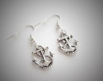 Anchor Earrings, Silver Anchor Earrings, Antique Sailor Anchor Earrings, Nautical Earrings, Simple Earrings, Rockabilly Everyday Jewellery