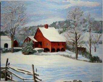Red Barn In Winter Landscape- Original Oil Painting Sale Priced