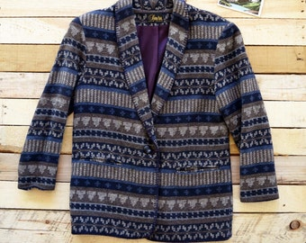Vintage Women's Large 90s DAVID PAUL Southwestern Blanket Blazer Jacket Blue Gray Pattern Cowgirl Western