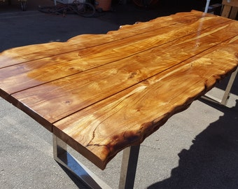 """95""""L Live Edge, Picnic Style Acacia Wood Plank Table SOLD"""