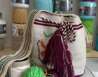 Colombian Wayuu Mochila Crossbody Bag/Handmade/Beige  Brown Orange & Green/Women's Bag/Travel Tote/  Original 100% Wayuu Knit/Durable Cotton