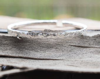 Sterling Silver Bangle - Thick Silver - Hammered Silver Cuff - Handmade Silver Bracelet - Paisley Daze Designs