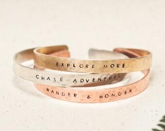 Inspirational Stacked bracelets   Pack of 3 bracelets   Wander & Wonder   Chase adventure   Explore more   Travel   Explorer   Wanderlust