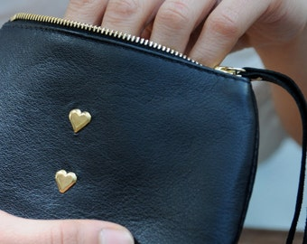Black leather purse - leather change purse - heart purse-  Liberty lined purse - made in England