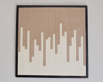 Wooden wall art, staggered wood waterfall, feature wall. Hand painted