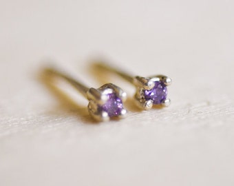 February Birthstone Mini Amethyst Sterling Silver Studs