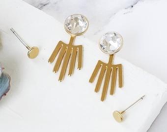 Bono Ear Jacket Set, Earring Set, Crystal Earrings, Evening Jewelry, Stud Earrings, Post Earrings, 2 Way Wear
