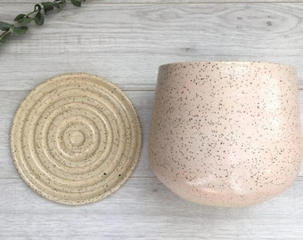 Handmade Planter With Saucer | Ceramic Planter | Indoor Planter