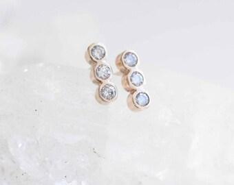 Triple Diamond Line Earrings   Diamond Bezel Earrings   14k Recycled Gold