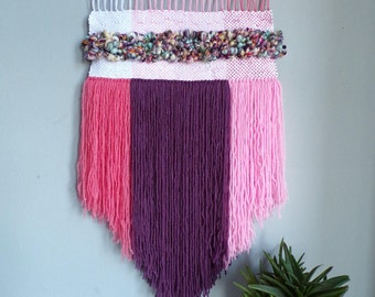Weaving woven wall hanging weave yarn pink ombre wall tapestry wall art wall decor boho bohemian modern gift nursery baby girl room