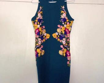 Vintage embroidered floral dress