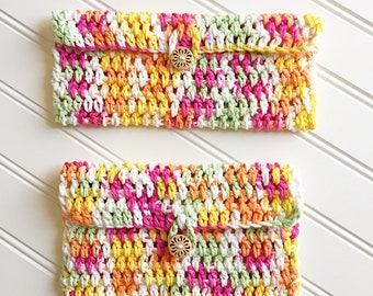 Crochet Cosmetic Bags, Crocheted Pouch, Hippie Bags, Pink Change Purse, Orange Change Purse, Boho Bags, Mother's Day Gift, Gift for Grandma