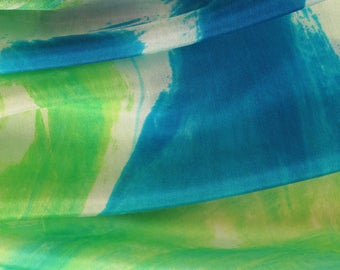 Lime green hand painted silk scarf for woman. Luxury hand painted shawl. Silk painting by Dimo. Abstract silk shawl. Long silk scarf for her