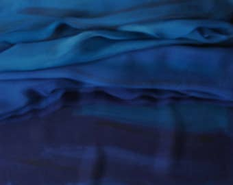 Hand painted silk shawl. Magic ocean. Beautiful and colorful hand painted scarf. Abstract silk painting. Long shawl. Silk chiffon scarf.