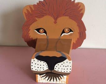 Vintage Wood Lion Box