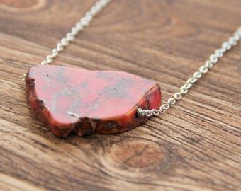 Jasper necklace on a chain with one slice bead , root chakra, balancing stone necklace CO01