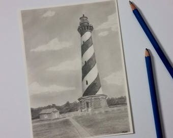 Hatteras Lighthouse - Cape Hatteras - Pencil Drawing - Lighthouse Art - Original Drawing - Lighthouse - Outer Banks - Ocean Decor