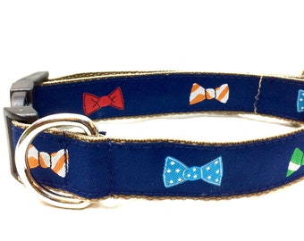 Bow Tie Dog Collar | Boy Dog Collar | Bow Tie Harness & Leash | Personalized Engraved Dog Collar | Step In Harness | Blue Dog Collar