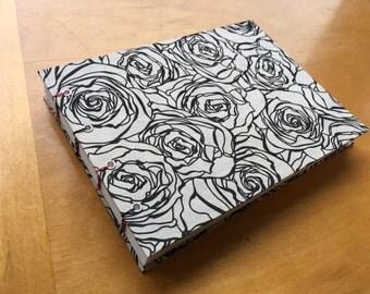 Black & Pink Rose Sketchbook // Coptic Stitch Journal // Hardcover Notebook // Handmade // Gifts Under 10 //