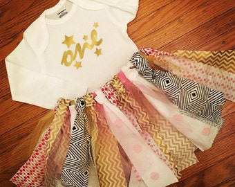 Birthday Onesie and Tutu - Pink and Gold