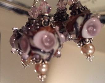 Lampwork Earrings Pink & Gold fromthe Ava Rose Collection