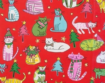 Jingle Cats Red By Alexander Henry Fabrics, Christmas Cats, Holiday, Festive Cats In Clothes