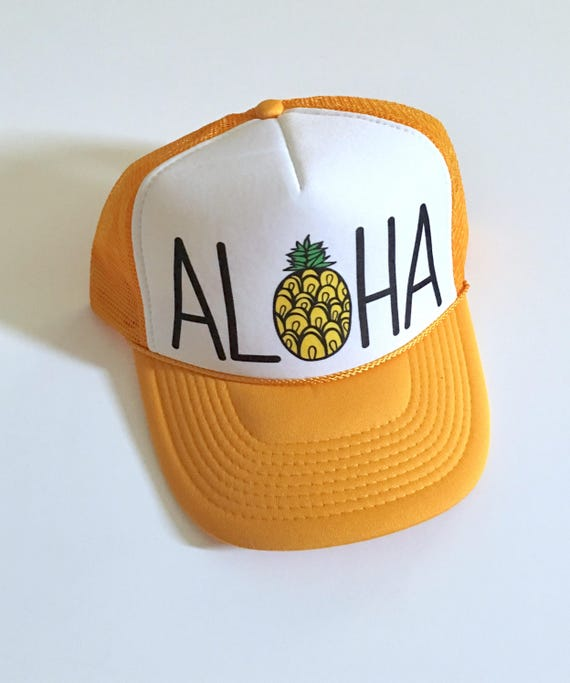 Aloha Trucker Hat| Aloha Hat| Hawaii Hat| Beach Hat| Pineapple Hat| canary yellowHat