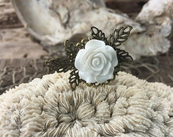 JEWELRY: Flower Filigree Ring / Rose Adjustable Brass filigree Ring/ Gift for Her. {A9-34#00155}