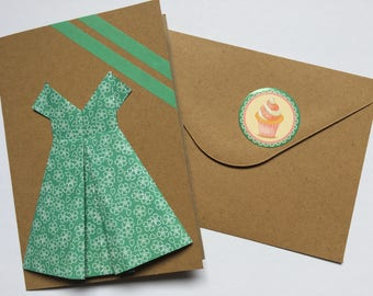 card birthday greeting party origami dress