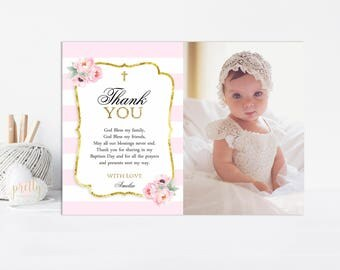 Pink and Gold Floral Baptism Thank you Card, Thank You Note, Baptism Thank You, Christening Thank You, Printable, Watercolor Flowers