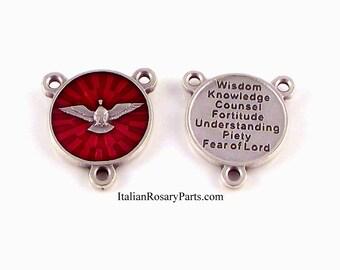 Centre de Saint Esprit chapelet médaille émail rouge avec sept cadeaux dos | Rosaire italien parties