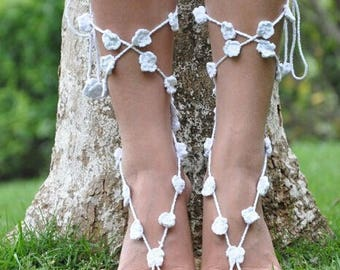 White or Off-White Crochet Barefoot Sandals