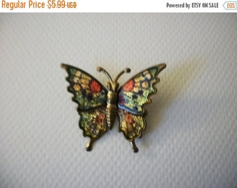 ON SALE Vintage 1940s Colorful Metal 3D Effect Foil Butterfly Pin 112816