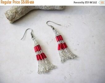 ON SALE Vintage 1960s Red Silver Seed Beads Tassel Earrings 12417